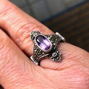 Deco Silver Amethyst Marcasite Ring